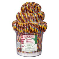 CLEARANCE - CANDY CANES CHERRY RAINBOW JAR (80 candy canes)