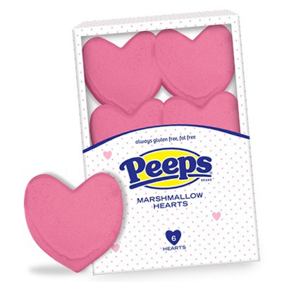 CLEARANCE - PEEPS 6 MARSHMALLOW PINK HEARTS