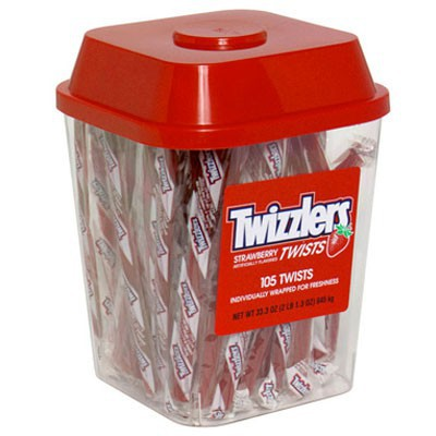 HERSHEY'S TWIZZLERS STRAWBERRY TWISTS TUB - 105 STICKS