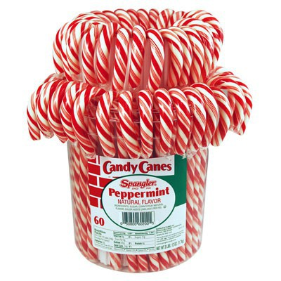 CANDY CANES PEPPERMINT RED WHITE BUCKET (60)