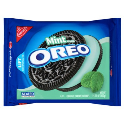 NABISCO OREO MINT CREME CHOCOLATE SANDWICH COOKIES