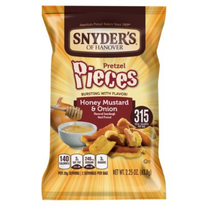 SNYDER'S HONEY MUSTARD AND ONION PRETZEL PIECES
